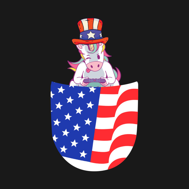 4th July is a special holiday for all americans. This funny gift is for unicorn moms and unicorn dads from the USA who are love gaming and unicorns