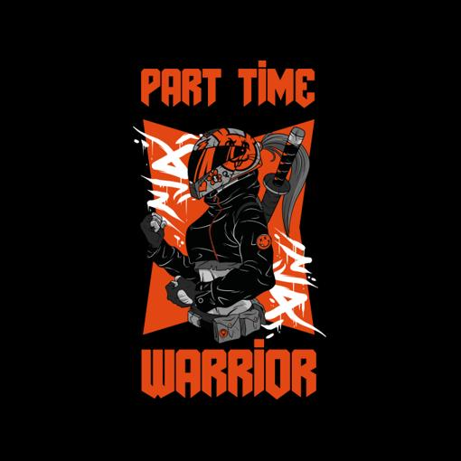 Part Time Warrior with a cool biker girl who wears a katana. The perfect design for everyone who loves cool anime or manga heroes. Great as a gift idea for all gamers and fans of cyberpunk settings. For all who like japanese comic art. Nice as a present for birthdays or Christmas.
