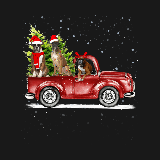Merry Christmas Red Truck Dog Breads Lover