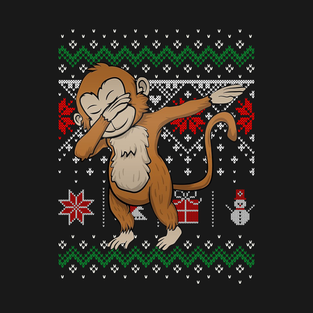 Funny Cute Monkey Lovers Dabbing Dab T-Shirt with Ugly Sweater Christmas style is perfect xmas gift ideas for mom, dad, brothe, sister, son, daughter, niece, nephew, aunt, uncle, grandma, grandpa, husband, wife, family and friends or co-worker.