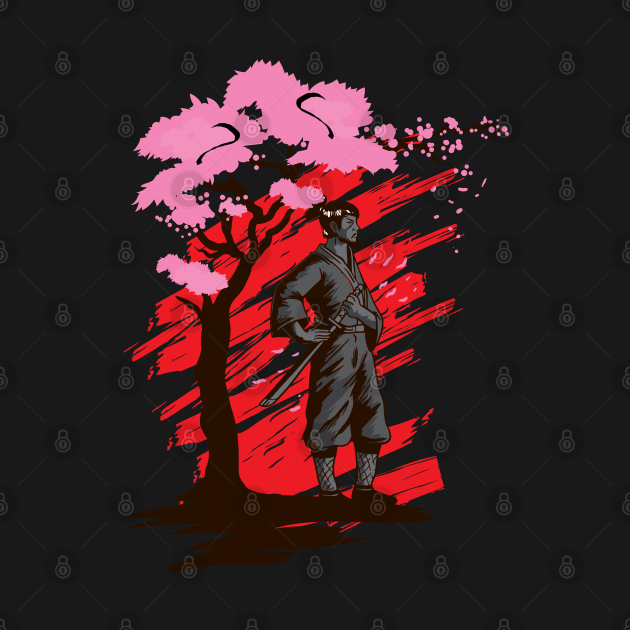 Do you love japanese sakura? This design shows a samurai with his katana on a cherry blossom tree in front of the japanese sun. It's a nice gift for a Japan or Asia lover, a samurai lover or a sakura cherry blossom lover.