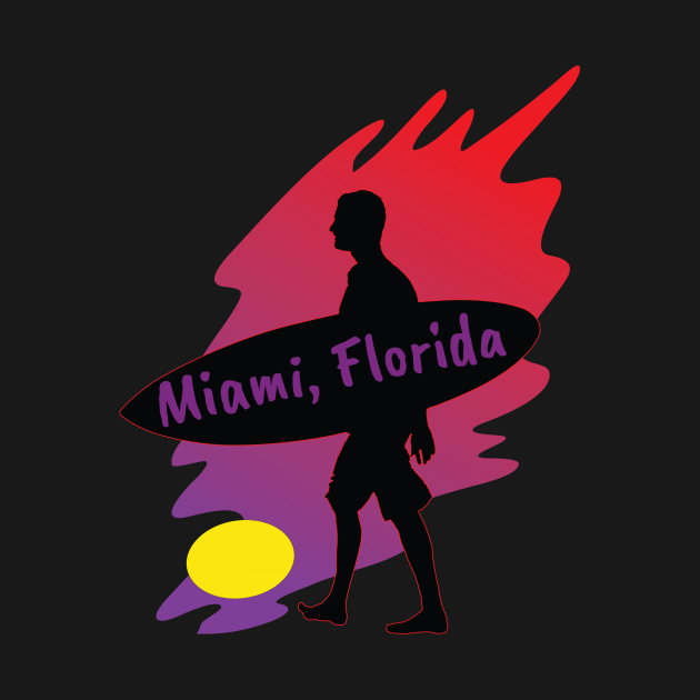 This is a beach and surfing design for Miami Florida.
