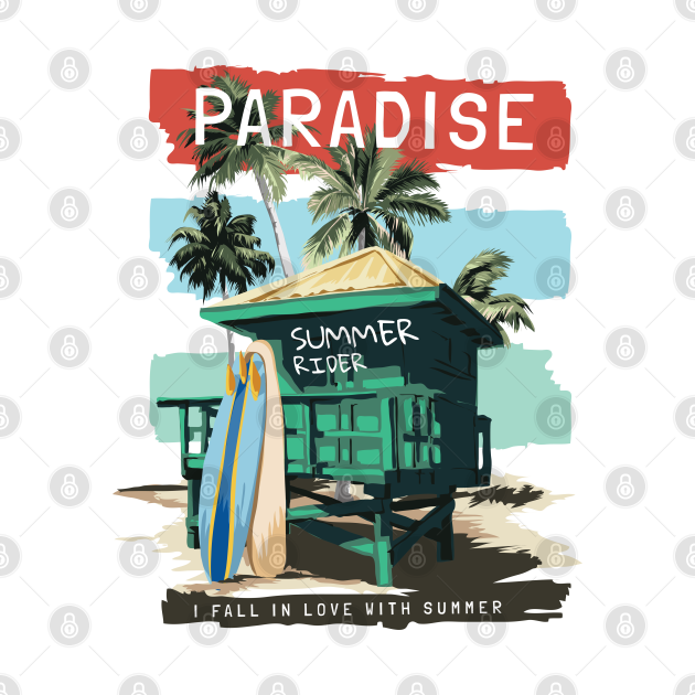 The Paradise Fall In Love Summer Beach Surf Typography Is The Perfect Gift For A Loved One Who Has A Keen Interest In Cute Trendy And Adorable Beach Designs.