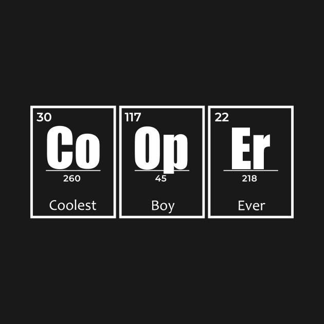 Cooper is the name of a cool boy or men who loves names. This funny birthday gift for son, dad or granddad who is called Cooper in a chemistry elements style.