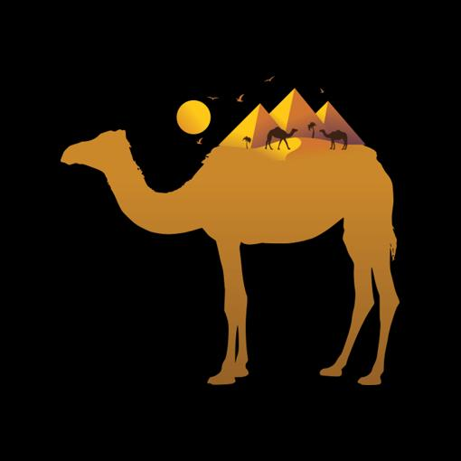 Check out this cool Egyptian Design! A great art concept of both a camel and a pyramid riding on the sand and nile.
