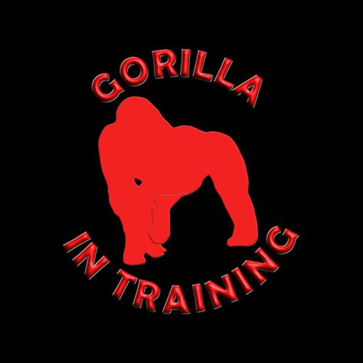 Gorilla in training.  Perfect for fitness lovers, bodybuilders, gym goers and animal lovers.