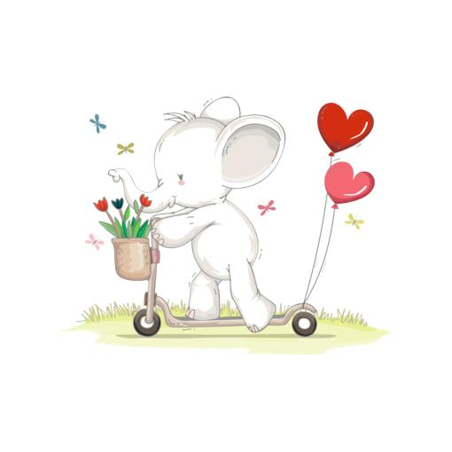 Cute Animal! Elephant playing scooter