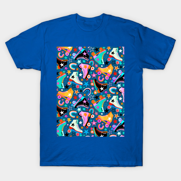 A bright, colorful, multi-directional pattern of roller skates, little rainbows and stars in shades of teal blue, orange, pink, black, white + mint.